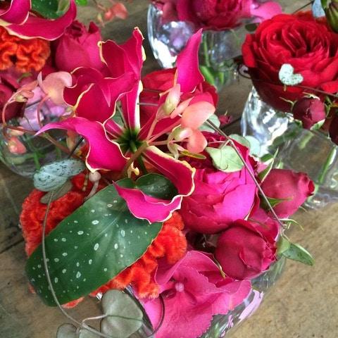bouquet de fleurs rouge et rose galerie des créations florales